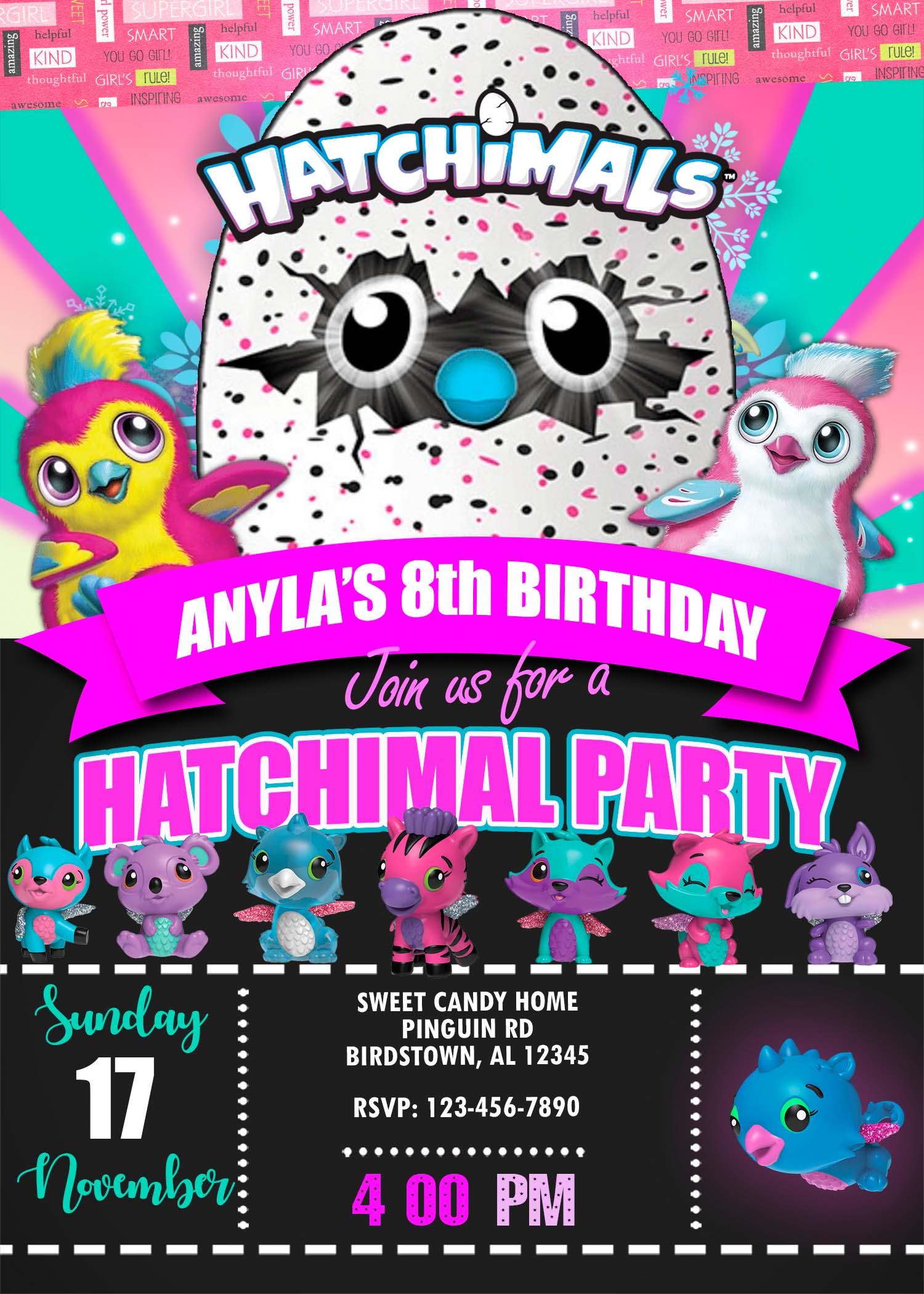 Hatchimals Birthday Party Invitation Cute Digital Invite