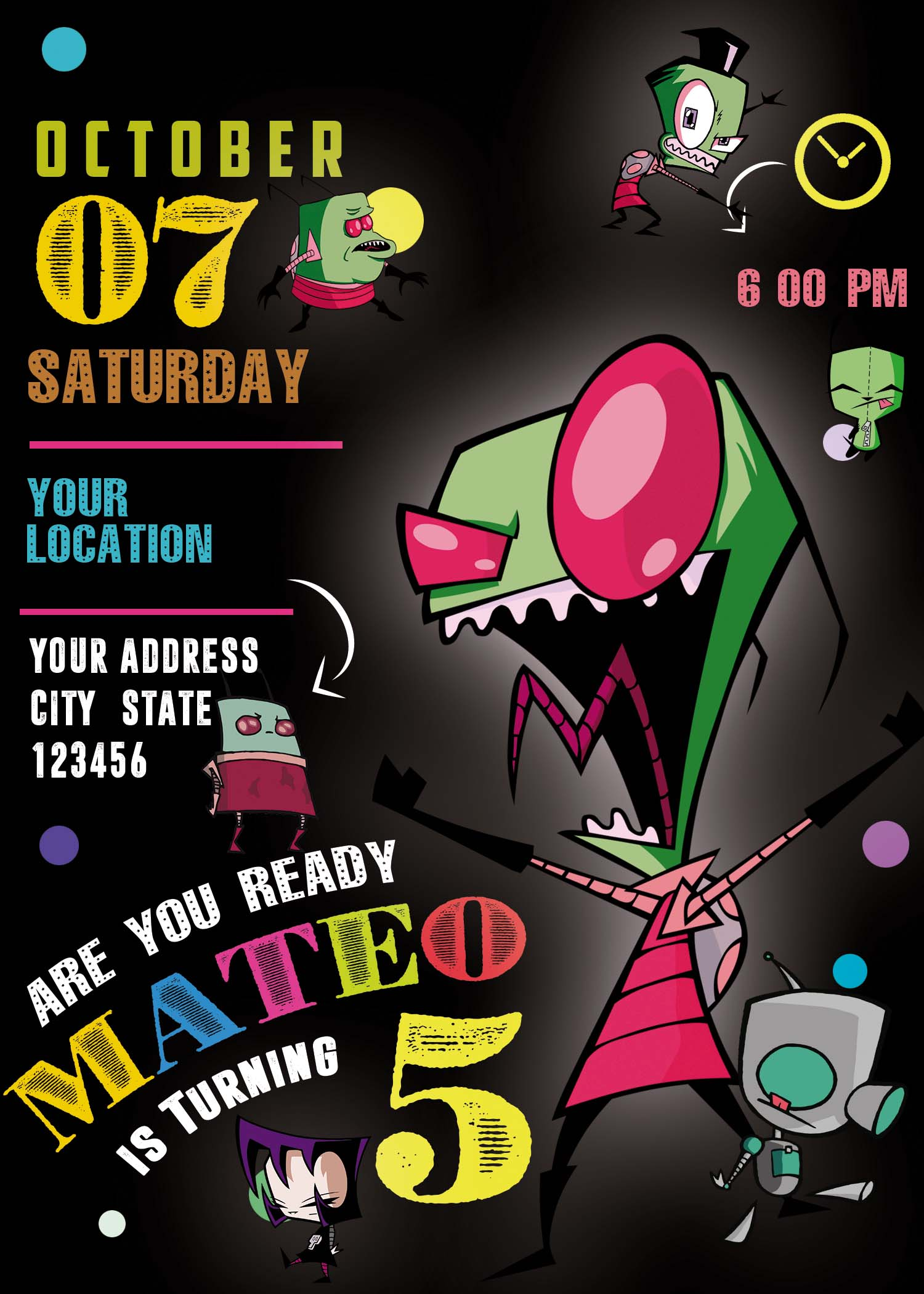 Invader Zim Birthday Party Invitation Amazing Designs Us