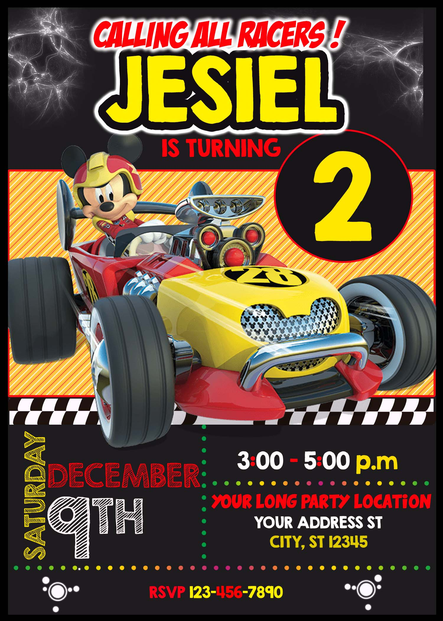 Mickey And The Roadster Racers Birthday Invitation 2 Amazing Designs Us
