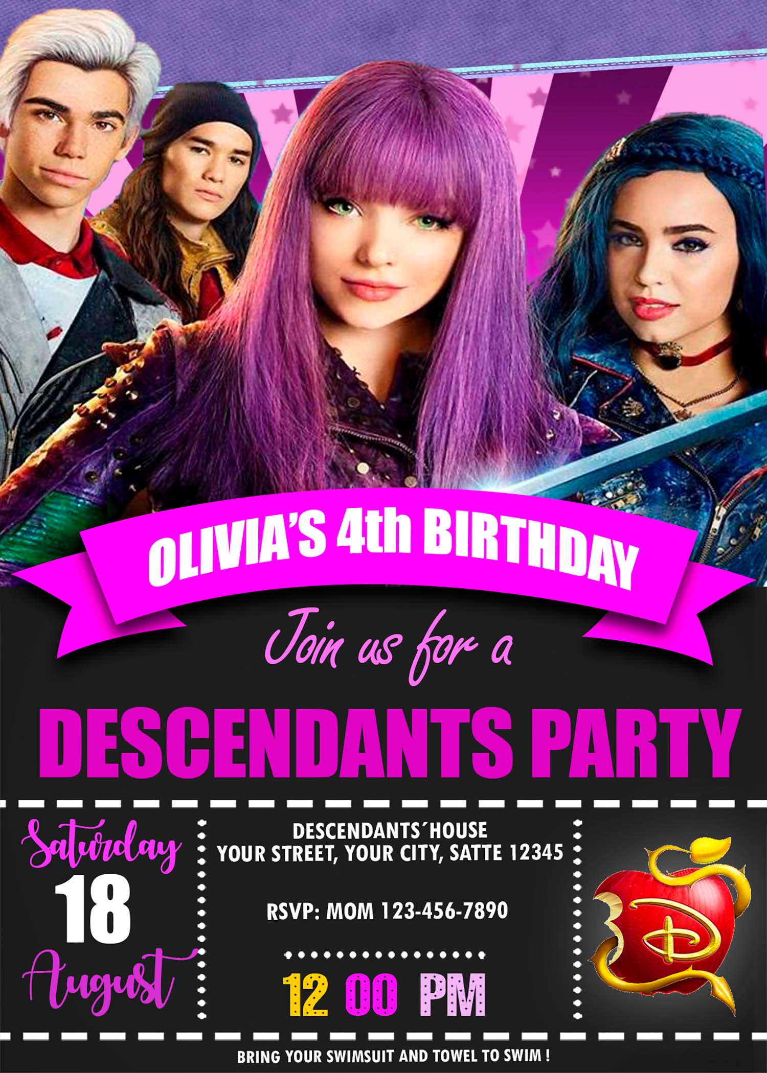 The Descendants Birthday Party Invitation Amazing Designs Us